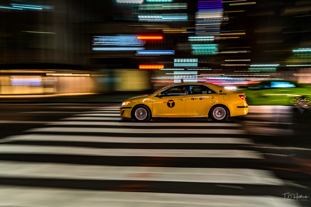 Taxi panning in New York