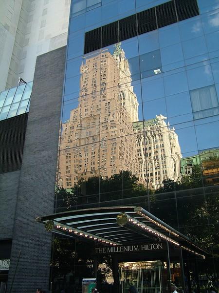reflection on Hilton Hotel  ~ New York City