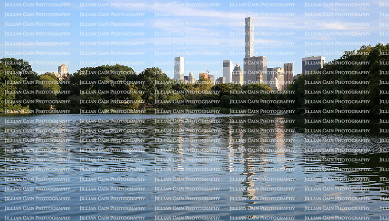 New York City Skyline reflected in Central Park Lake
