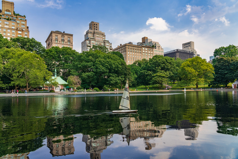 Model Boat Sailing in Central Park