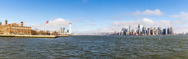 Ellis Island and New York skyline from ferry