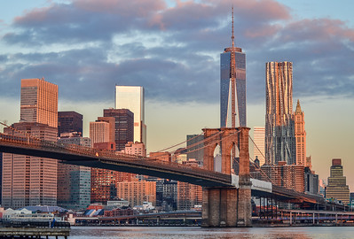New York City Skyline sunrise (Brooklyn Bridge)