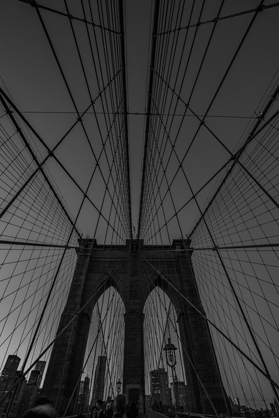Brooklyn Bridge through the cables