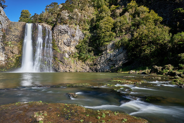 Hunua Falls, a popular tourist attraction, in Hunua Ranges Regional Park south east of Auckland. The Hunua Ranges is the largest forested area in Auckland and supplies the city wth much of its drinking water