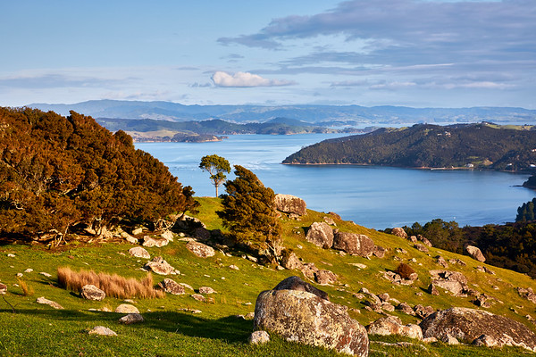 Views at Stony Batter Historic Reserve on the west and highest point of Waiheke Island to the Hauraki Gulf. The boulders are remains of eroded rocks weathered over thousands of years
