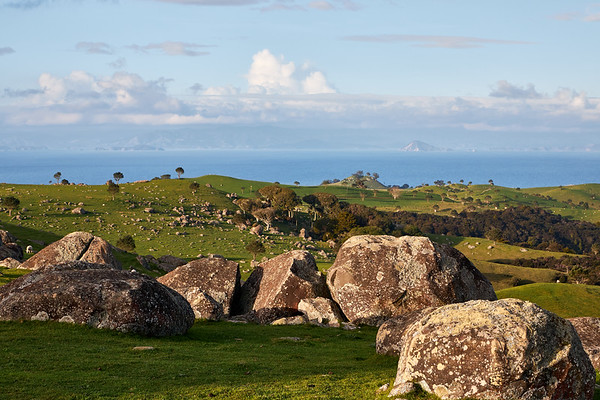 Views at Stony Batter Historic Reserve on the west and highest part of the island to the Hauraki Gulf. The boulders are remains of eroded rocks weathered over thousands of years