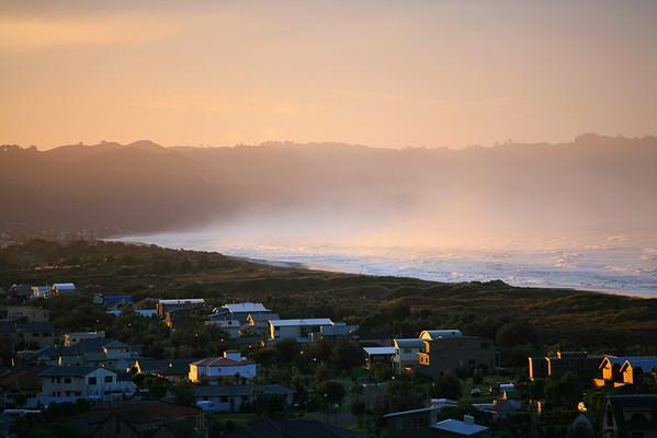Sea spray at sundown, Waihi Beach