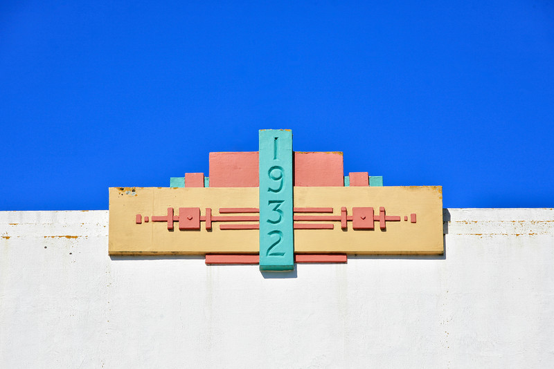 Art Deco date on a Napier building, one year  after the earthquake of 1931