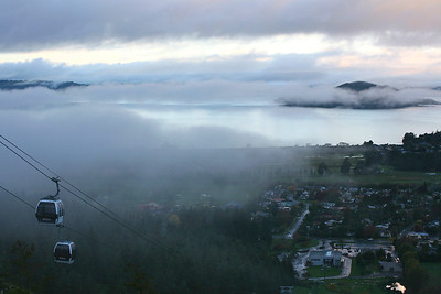 Cableway after rain above Lake Rotorua