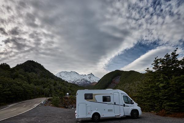 Motorhome roadtrip up Mt Ruapehu in Tongariro National Park