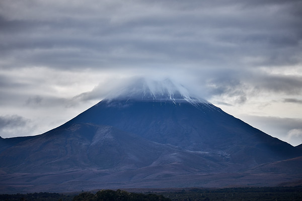 Mt Ngauruhoe, Mt Doom in Lord Of The Rings, wears a cloudy cap, Tongariro National Park