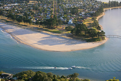 Boating on the channel seperating Tairua from Panui and its beach