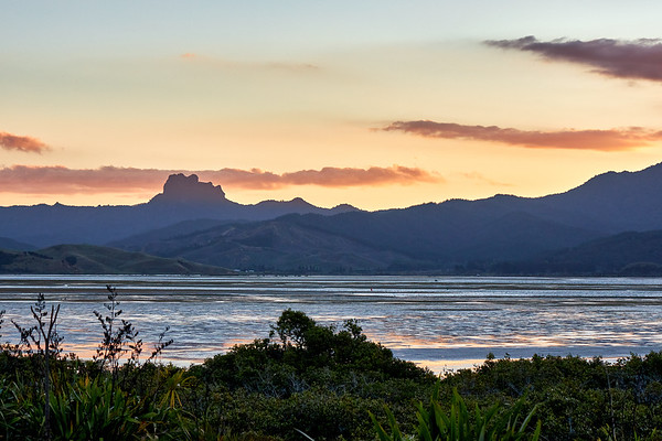 Mtarangi estuary at sunset on the Coromandel Peninsula in New Zealand's North Island