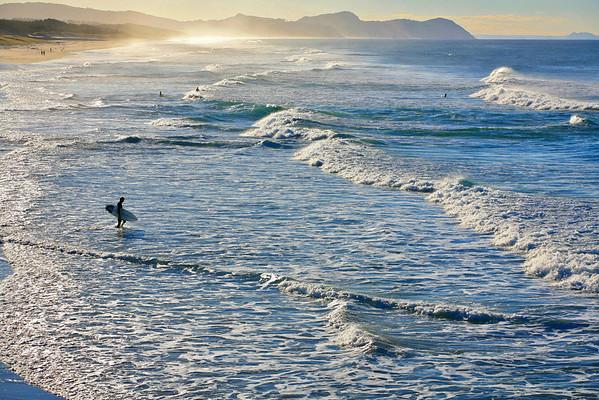 Evening surf at Te Arai Pt beach in Northland