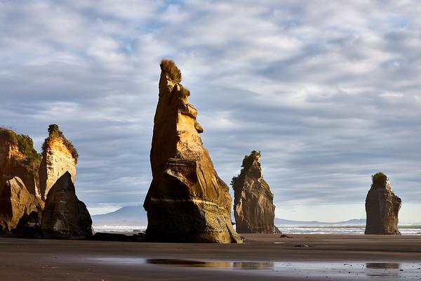 The Three Sisters rock formations  at Tongaporutu Beach on the Taranaki coast in New Zealand's North Island