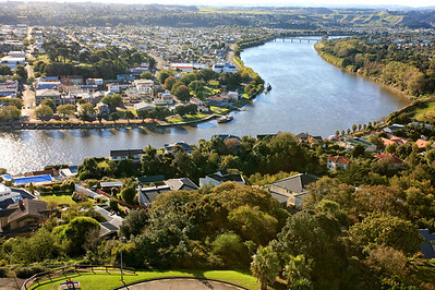 View of Wanganui and its river from the Memorial Tower by the Durie Hill Elavator