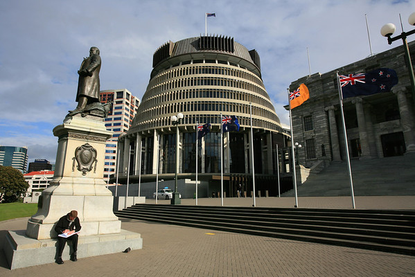 The Beehive  and statue of Richard John Seddon, Wellington