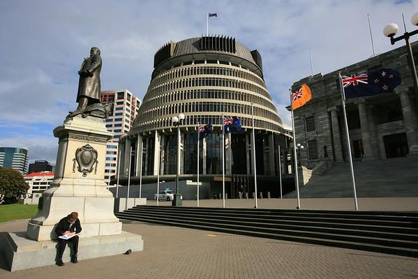 The Beehive  and statue of Richard John Seddon, Wellington