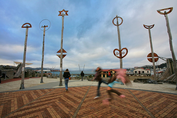 Children playing amidst art, Civic Square, Wellington