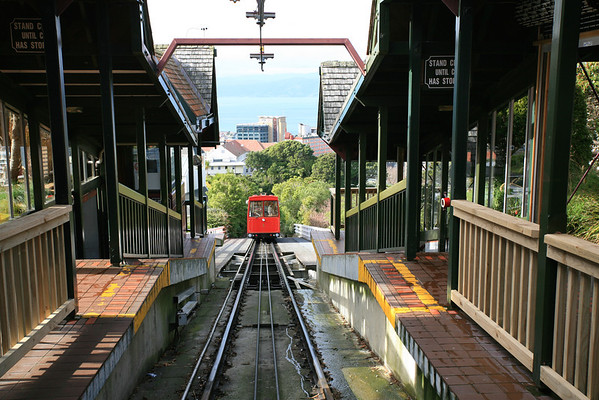 Cable car station at Botanical Gardens, looking down towards Wellington CBD