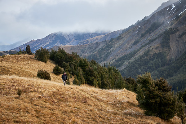 Walking below Mt Lyford in the Canterbury region of New Zealand's South Island