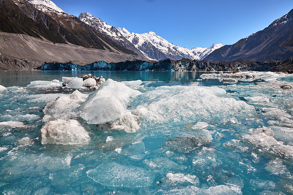Icebergs near the face of the Tasman Glacier in Mt Cook National Park