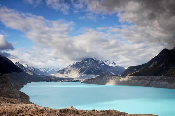 Tasman Lake, a proglacial lake formed by the recent retreat of the Tasman Glacier in New Zealand's South Island, in Aoraki Mt Cook National Park