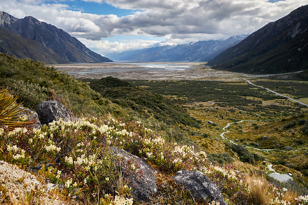 View looking down the Tasman Valley in Aoraki Mt Cook National Park in Canterbury