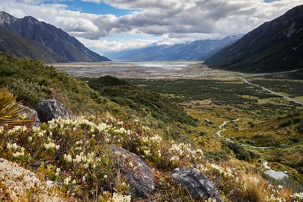 View looking down the Tasman Valley in Aoraki Mt Cook National Park in Canterbury