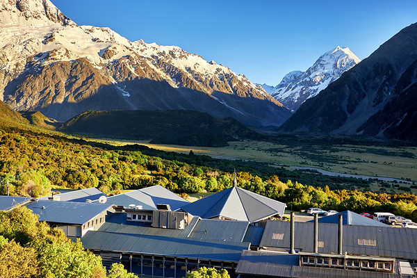 Aoraki Mt Cook at sunrise, New Zealand's tallest mountain, looking down the Hooker Valley over the Hermitage Hotel