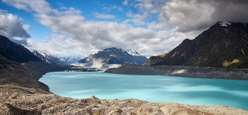 Tasman Lake, a proglacial lake formed by the recent retreat of the Tasman Glacier in New Zealand's South Island, in Aoraki Mt Cook National Park