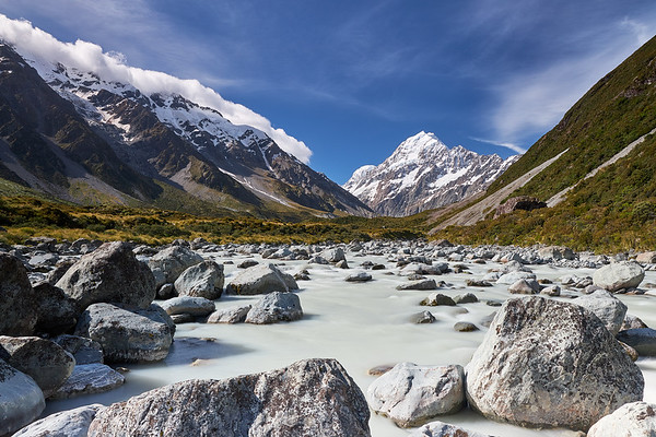 Aoraki Mt Cook viewed from the Hooker River in the Hooker Valley, Mt Cook National Park