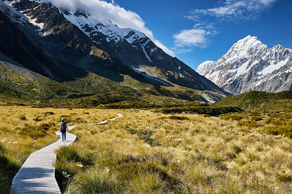 Boardwalk approaching Aoraki Mt Cook on the Hooker Valley Track, Mt Cook National Park