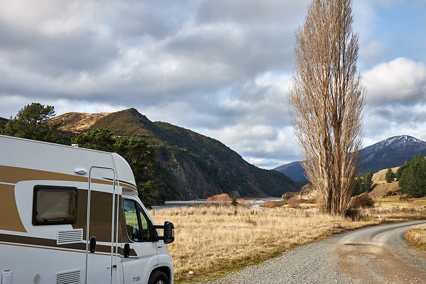 Camper van in the Tasman district of New Zealand's South Island