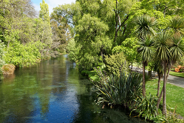 Avon River and Botanical Gardens in Hagley Park, Christchurch