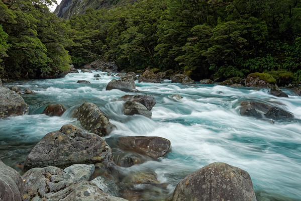 Alpine river in Fiordland National Park