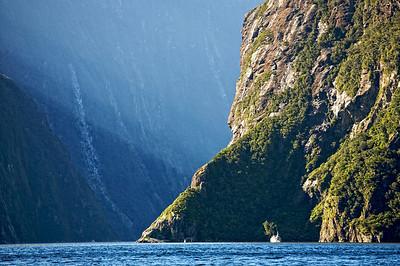 Tour boat dwarfed on Milford Sound, Fiordland Ntional Park