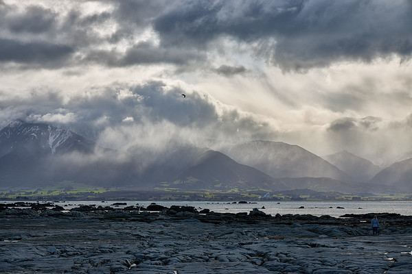 Rain clouds over the Kaikoura ranges on the north eastern coast of the South Island