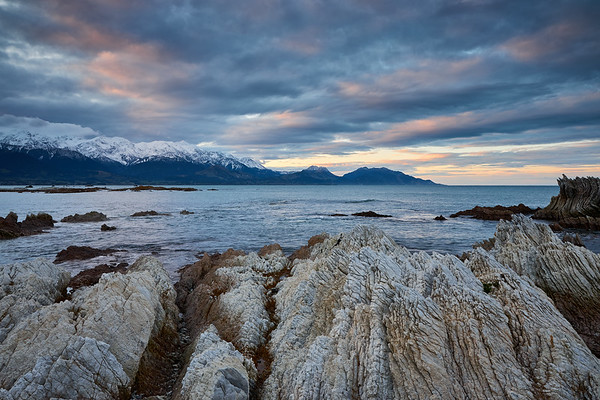 Coastal scenery in Kaikoura in the South Island, a region famous for its marine life and recent magnitude 7.8 earthquake, where geological forces continue to shape its remarkabe landscape above and below the water