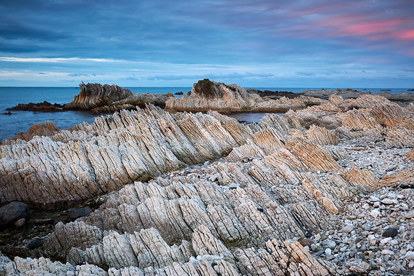 Rock formations in Kaikoura in the South Island, a region famous for its marine life and recent magnitude 7.8 earthquake, where geological forces continue to shape its remarkabe landscape above and below the water