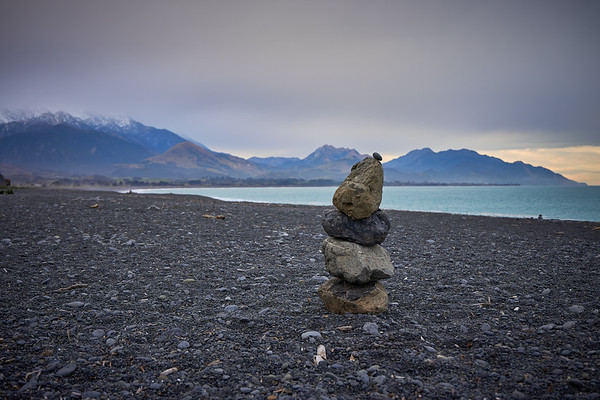 Cairn on the beach at Kaikoura in the South Island