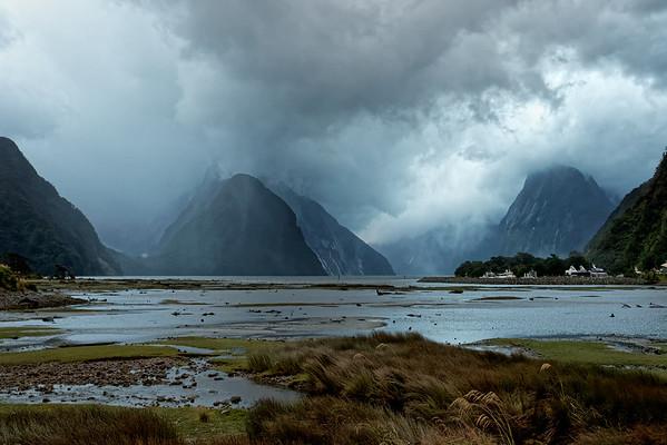 Rain arrives at Milford Sound