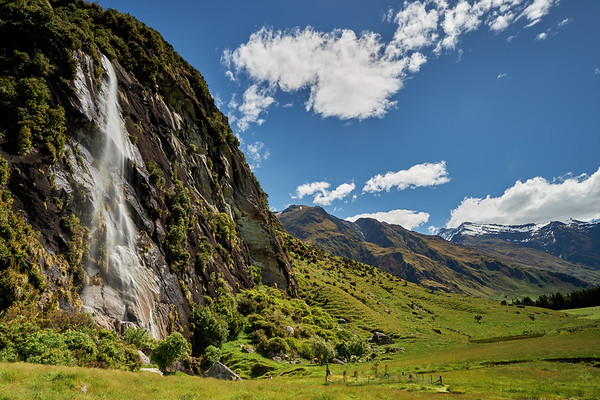 Wishbone Falls in the Matukituki Valley in Mt Aspiring National Park