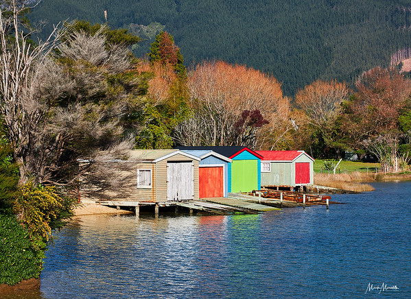 Boat sheds in the Marborough Sounds