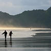 Walkers enjoying the dramatic splendour of Piha beach