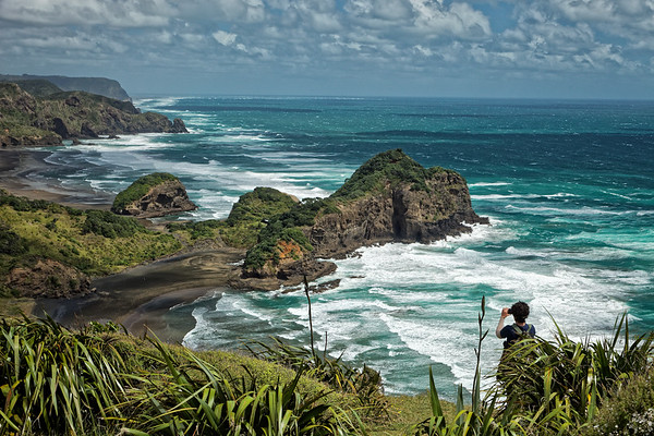 View from Hillary Trail of O'Neills and Bethells Beaches