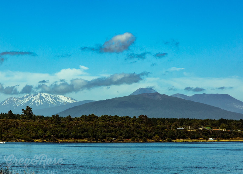 New Zealand Central Mountains and Lake Taupo.j