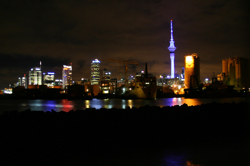 Downtown Auckland at night.
