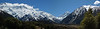 Panorama from visitor center, The Footstool (left), Aoraki/Mt. Cook (center)