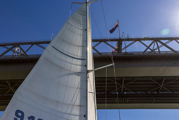 Sailing under the Auckland Harbour Bridge